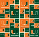 COTTON FABRIC-100% COTTON UNIVERSITY OF UNIVERSITY OF MIAMI HURRICANES FABRIC SOLD BY THE YARD-UNIVERSITY OF MIAMI HURRICANES COTTON #20 - Fabric Cotton University