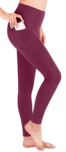 Heathyoga Yoga Pants High Waist Leggings for Workout Running & Yoga, Super Soft and Non See-Through Fabric (H7521 Wine, Large)