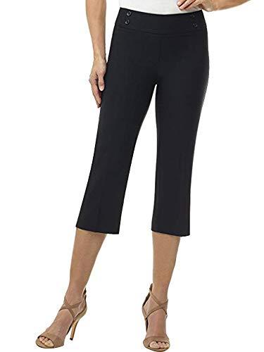 Women's Classic Comfort Fit Stretch Pull on Dress Capris Black Tag - Black Dress Capris