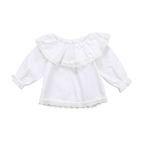 Glosun Toddler Baby Girl Lace Collar Top Shirt Long Sleeve Ruffle Bodysuit Blouse Fall Clothes (White, 18-24 Months) (Collar Long Sleeve Top)