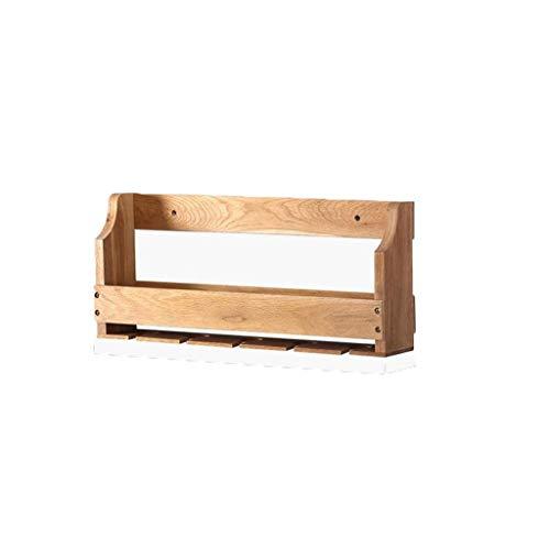 ZXG-Rack Storage Rack Wall Mount White Oak Wine Rack Modern Simple Wine Rack Solid Wood (Color : Brown, Size : 550mm)