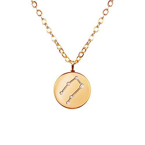 Gold Gemini Zodiac Pendant (Gold Zodiac Constellation Necklace Cubic Zirconia Crystal Necklace Birthday necklace gift Graduation Gift for Her (GEMINI) - ZCCN)