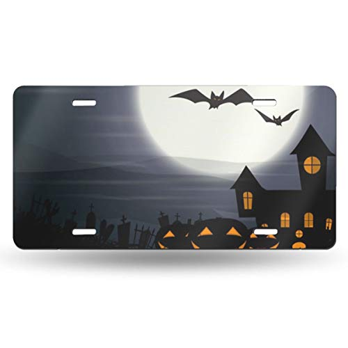 Jeepmother Halloween with Haunted House 612inchs Feel Metal Tin Sign Plaque for Home,Bathroom and Bar Wall Decor Car Vehicle License Plate Souvenir Car Decoration]()