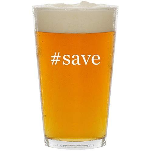 #save - Glass Hashtag 16oz Beer Pint