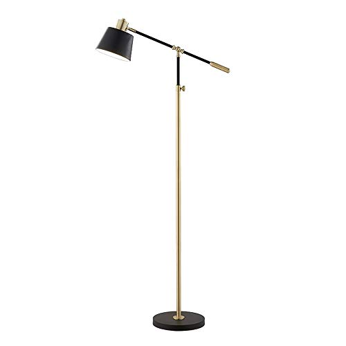 - Belief Rebirth Modern Classic Floor Lamp Antique Brass & Black Finish - Vertical Standard Light Adjustable Boom Arm & Head for Living Room Reading Bedroom Office - Swing Arm Accent Lighting Fixture