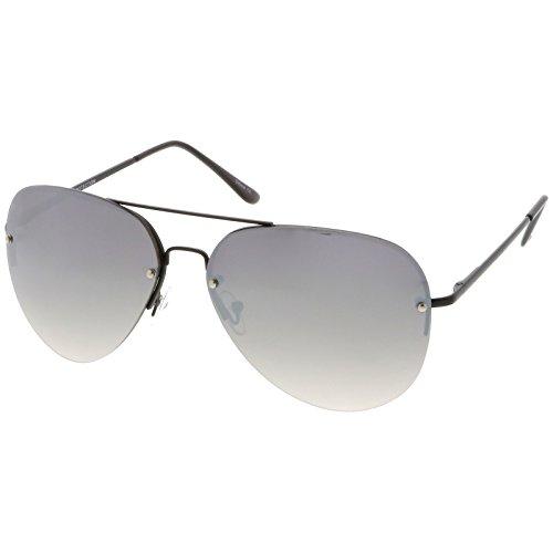 sunglassLA - Oversize Rimless Aviator Sunglasses Teardrop Mirrored Lens Metal Slim Arms 65mm (Black / Silver - Frame Teardrop
