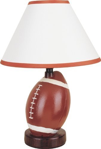 12 H Table Lamp with Ceramic Football Base in Orange Finish