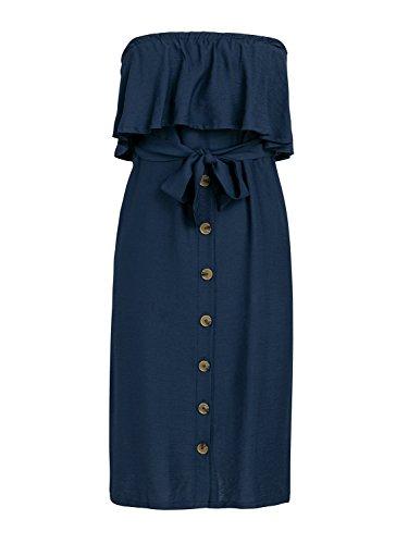 Estate Delle Vestito Fuori Cotone Berrygo Midi Casuale Spalla Tie Donne Volant Del Vita Blu Rtwxnaqx