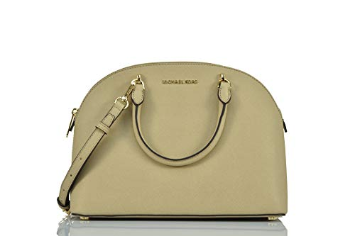 Michael Kors Emmy Large Dome Satchel Saffiano Leather Studded Scalloped Edge Shoulder Bag Purse Handbag
