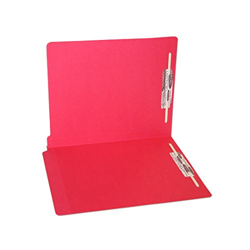 Red End Tab Folder (SJ Paper WaterShed/CutLess Red File Folder with 2 Permclip Fasteners- Letter Size, 11pt, End Tab (50/Box))