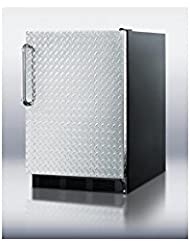 Summit FF6BBI7DPLADA Refrigerator, Silver With Diamond Plate