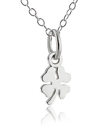 Sterling Silver Tiny Lucky Four Leaf Clover Shamrock Charm Necklace, 18
