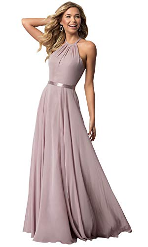 Women's Halter Ruched Chiffon Bridesmaid Dresses Long Formal Prom Gown (Dusty Pink,8)