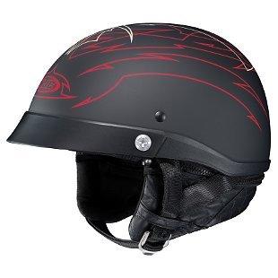 HJC Helmets Unisex-Adult Half-Size-Helmet-Style CL-Iron Road Show Boat MC1F Helmet (Black/Red, Medium)