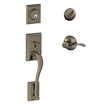 Image of Addison Single Cylinder Handleset and Left Hand Accent Lever, Antique Pewter (F60 ADD 620 Acc LH) Home Improvements