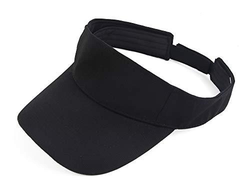 Melesh Plain Men Women Sport Headband Sun Visor Adjustable Athletic Sportswear Runing Outdoor Hat Cap (Black)