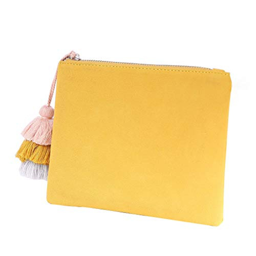 Bag Suede Accent Pouch Tassel 06 Casual Women Vegan for with Faux Purse Mustard Handbag Clutch ZqwE0E