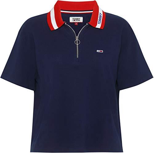 (Tommy Jeans Tommy Co Womens Polo Shirt Medium Black Iris)