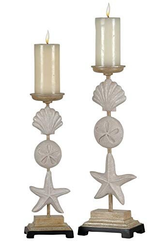 Stylecraft AC322600DS Polyresin Pillar Decorative Seashell Candle Holders - Set of (2)