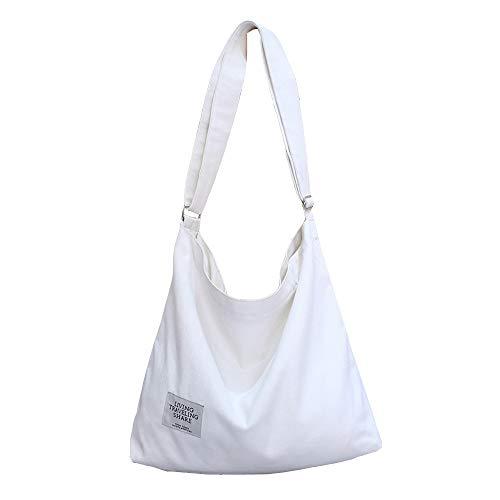 White Women's Canvas Hobo Handbags Simple Casual Top Handle Tote Bag Crossbody Shoulder Bag Shopping Work Bag Crossbody Bags Women Canvas Tote Bag Canvas Messenger Bag Lightweight Crossbody - White Messenger