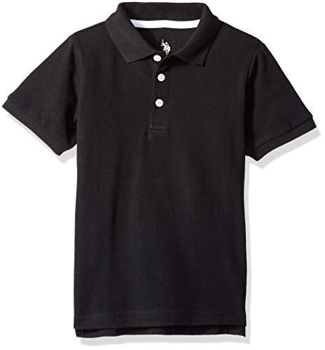 U.S. Polo Assn. Boys' Little New Short Sleeve Pique Polo Shirt, Black, ()