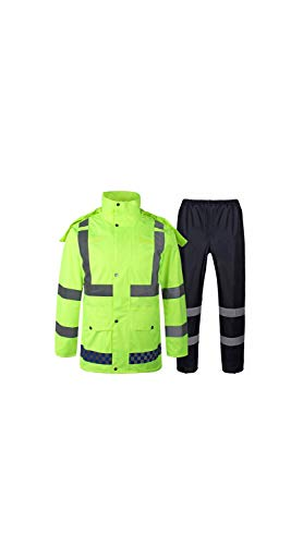 SCRT Fluorescent Yellow Adult Raincoat Oxford Cloth Waterproof & Breathable & Perspiration Reflective Traffic Duty Split Raincoat (Size : XXXXL) ()