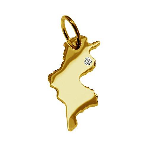 Tunisie avec un pendentif brillant 0,015ct sur votre wunschort en or jaune 585