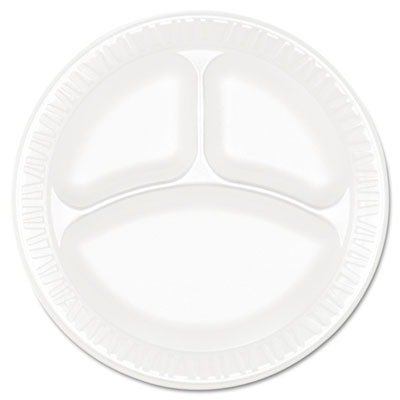 Dart Concorde Foam Plate, 3-Compartment, 9quot;, White - Includes four packs of 125 each.