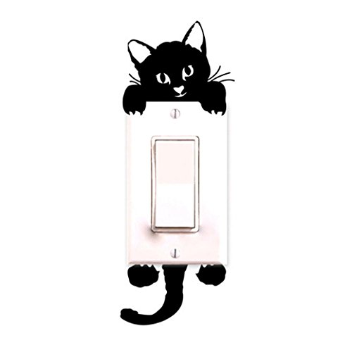 Cat Wall Stickers Light Switch Decor, Staron Art Mural Creative Decals Stickers Decoration for Children Baby Room (Black) (Cat Tree Stuck Christmas In)
