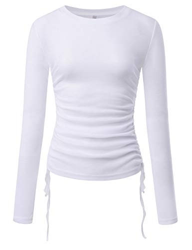 (NEARKIN (NKNKWT93 Womens Long Sleeve Slim fit Side String Casual Tshirts White US XL(Tag Size 2XL))