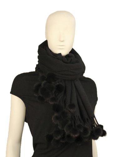 Cashmere scarf,scarves,shawl with Mink pom-pom balls-Cash...