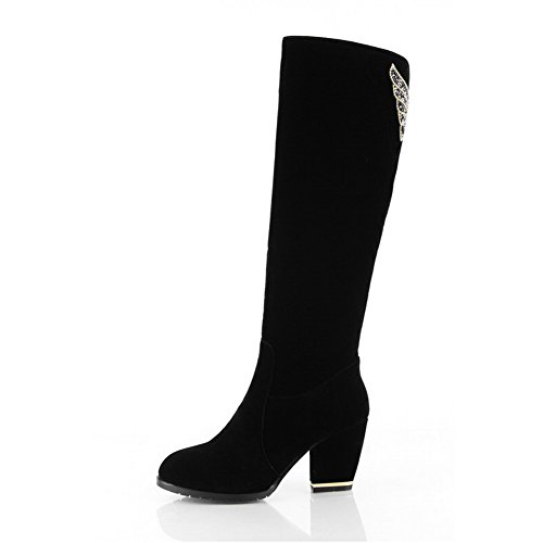 AmoonyFashion Closed US Round 5 Solid Glass Chunky with High Womens Heels Frost M Boots Diamond Heels and Toe 5 Black B SrpSxq