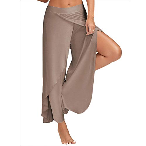 COLO Women's Pants Cropped Palazzo Wide Leg High Split Layered Solid Flowy Casual Lounge Trousers #4 Khaki (XL)