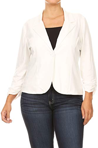 - Solid Plus Size Ruched Sleeve Buttoned Business Casual Blazer Jacket/Made in USA Off White 3XL