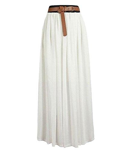 Promithi Women's Vintage Pleated Long Chiffon Maxi Boho Beach Skirt Dress (B-white)