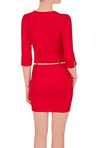 lunghe lunghezza Tubino M ginocchio di S al XL donna Rosso Laeticia maniche da fino Dreams L 7701Yr