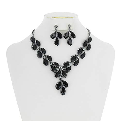 (SP Sophia Collection Stunning Leaf Droplet Austrian Crystal Bridal Necklace and Earring Set in Black)