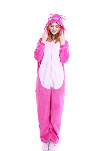 Yutown Unisex-adult Animal Onesie Pajamas Kigurumi Cosplay Costume Pink Stitch XL