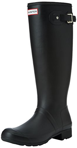 Womens Hunter Original Tour Rain Winter Snow Festival Wellington Boots - Black - (Hunter Wellington Rubber Boots)