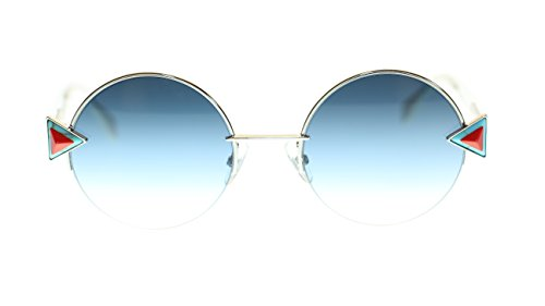 (Fendi Womens Sunglasses FF0243S SCB Silver Blue/Khaki Aqua Lens Round 51mm Authentic)