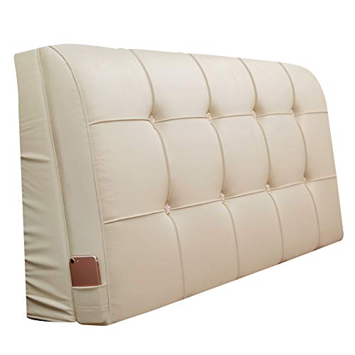 LIQICAI for Headboard Faux Leather Material High Resilience Foam Filled, 9cm Thickness Elegant and Ergonomic, 5 Colors, 7 Sizes Optional (Color : Cream, Size : 190x9x58cm)