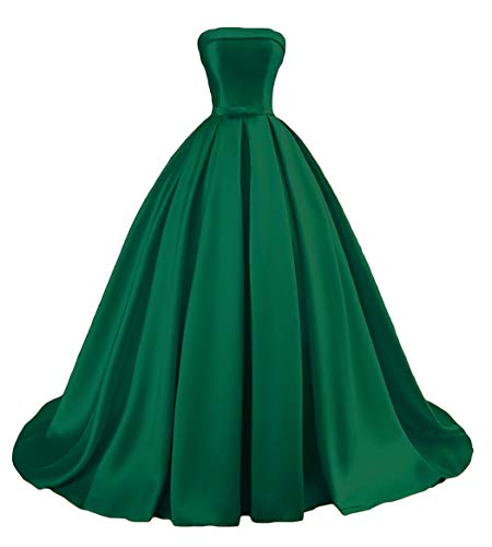 Dymaisei Women's Strapless Ball Gown Prom Party Dresses 2019 Long Formal Dresses US8 Emerald Green