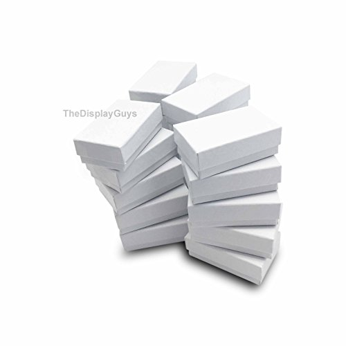 The Display Guys Pack of 25 Cotton Filled Cardboard Paper White Jewelry Box Gift Case (2 5/8x1 1/2x1 inches #21)