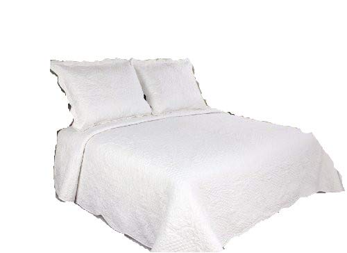 ALL FOR YOU 3pc Reversible Quilt Set, Bedspread, and Coverlet-white/off white-Oversize 100