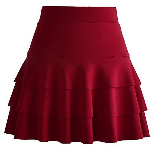 Liangzhu Jupes Mini Courte vase Jupe Basique Plisse Patineuse Fille/Elastique/ Trois Couches Vin Rouge