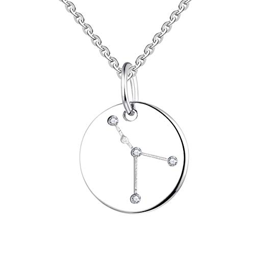 (YL Women's Cancer Constellation Necklace Sterling Silver Zodiac Jewelry Astrology Coin Horoscope Pendant)