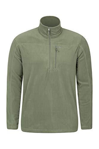 - Mountain Warehouse Argyle Mens Half Zip Fleece Top -Fast Dry Pullover Pale Green Large