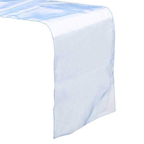 mds Pack of 5 Wedding 12 x 108 inch Organza Table Runners for Wedding Banquet Decor Dining Room Table Runner- Baby Blue -