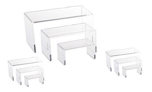 9 Piece Set   Clear Acrylic Display Risers  Acrylic Clear Riser Set