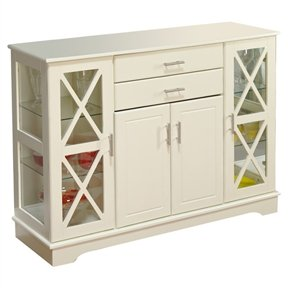 White Wood Buffet Sideboard Cabinet with Glass Display Doors Cabinet Glass Display Doors Case Curio Door Shelves Wood Small Storage Svitlife (Dining Room Modern Curio Cabinet)